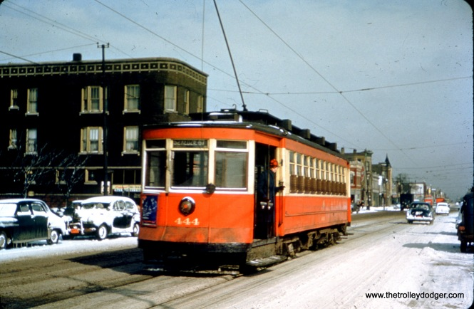 CTA Pullman 444 at Armitage and California in January 1950.