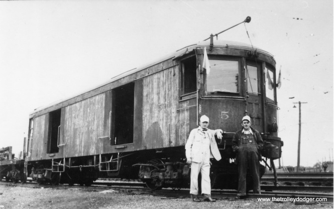 It is not often that individual employees can be identified in an old photo such as this, which shows CA&E express freight car #5 (presumably, the second #5, built by Cincinnati Car Company). But the man at left is Clyde Goodrich, a longtime engineer on the interurban. As far as I know, he was still employed there up to the final 1959 abandonment of service.