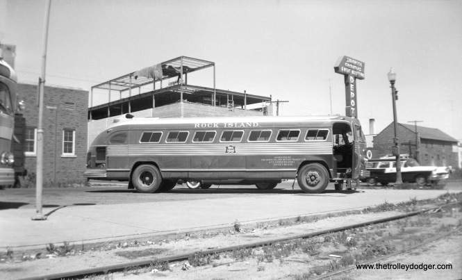 "By strange coincidence, this photo showing a Rock Island Motor Transit Company bus was taken in June 21, 1958. Bill shapotkin adds, ""The photo was taken at the joint CGW/Greyhound/Jefferson bus station in Rochester, MN. This bus provided connections from/to ROCK trains at Owatonna, MN."" (William Shapotkin Collection)"