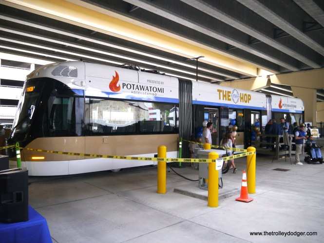 The new streetcar maintenance facility makes use of space underneath a highway.