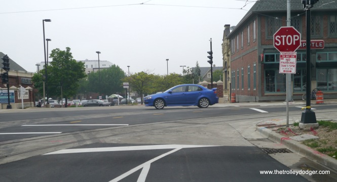 The streetcar line makes a rather tight turn at this intersection.