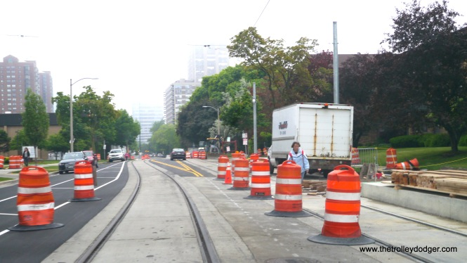 There are various obstacles blocking parts of the line, enough to make me think that it could be a month or so before the streetcars are tested out on the streets.