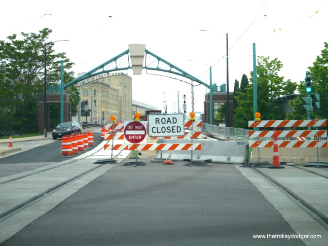 Only eastbound car and truck traffic was allowed on this bridge over the Milwaukee River.