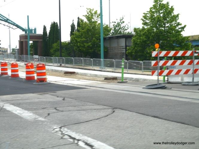 Cement work was still being done on the bridge approach.