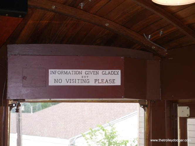 Not sure if this sign is original to the trolley or was added in museum service.