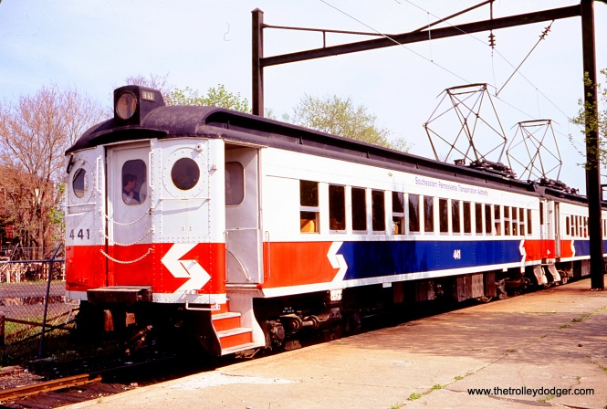 A SEPTA commuter train, ex-PRR, at West Chester in May 1979. SEPTA rail service to this station ended in 1986, but the West Chester Railroad began running a not-for-profit tourist operation of train service on weekends between West Chester and Glen Mills in 1997. (Photo by Paul Kutta)