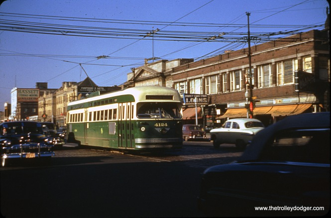 CTA Pullman-built PCC 4124 is eastbound on Route 20 - Madison at Cicero Avenue in 1953. The PCC is signed for Kedzie, so it is most likely a tripper, heading back to the barn. Streetcar service on the main portion of Madison ended on December 13, 1953.