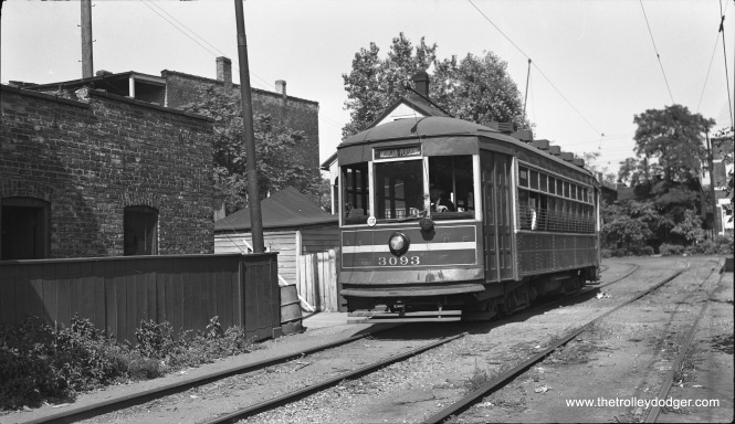 On August 25, 1946 CSL one-man car 3093 is running outbound on private right-of-way between Morgan and Throop on Route 23, Morgan-Racine-Sangamon.