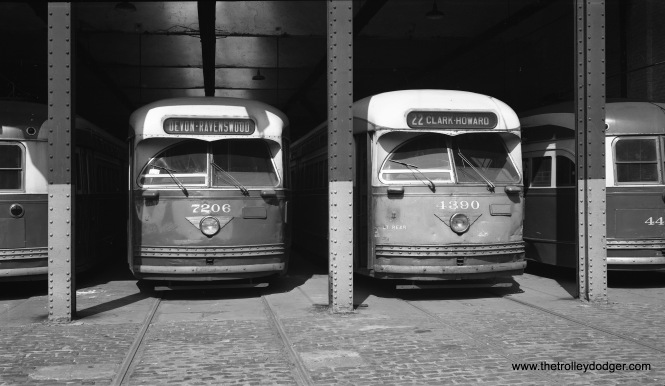 """On May 25, 1958 we see CTA two-man PCCs 7206 and 4390 at 78th and Wentworth (South Shops). Both were products of St. Louis Car Company, as all 310 postwar Pullman PCCs had been scrapped by then for the """"PCC conversion program"""" that used some of their parts in new 6000-series rapid transit cars. In spite of the roll signs shown here, Chicago streetcars were limited to running on a single route between downtown and the south side. The last northside car ran in 1957. (Robert Selle Photo)"""