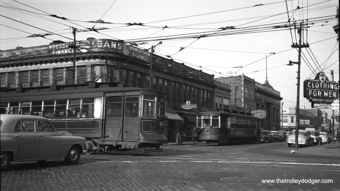 CTA red Pullmans 521 (on Ashland) and 640 (on 63rd Street) meet on May 14, 1953. This was near the end of streetcar service on 63rd. By then, PCC cars had been transferred from 63rd to Cottage Grove. The Curtis restaurant, located in this vicinity but behind the photographer, was a favorite of my parents. It is perhaps no coincidence that I have a brother named Curtis. (Robert Selle Photo)