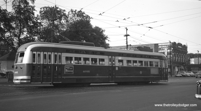 CTA PCC 4095, built by Pullman, has just left the Madison-Austin loop on the west end of Route 20 on June 1, 1953. Buses continue to use this loop today, although it has been somewhat reconfigured. (Robert Selle Photo)