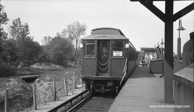 "On May 1, 1955 CERA held a fantrip using 2800-series wooden ""L"" cars. Here, the train makes a photo stop at DesPlaines Avenue in Forest Park, then the western end of the Garfield Park ""L"". The terminal had been reconfigured in 1953 when CA&E trains stopped running downtown. It would be reconfigured again in 1959. By 1960, the Congress expressway was extended through this area. (Robert Selle Photo)"