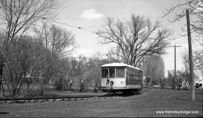 Fort Collins Municipal Railway Birney car 22 in the city park on April 30, 1947.