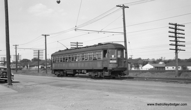 "North Shore Line car 182 is southbound on the Shore Line Route in North Chicago, Illinois on June 12, 1954. Don's Rail Photos: ""182 was built by Cincinnati Car in September 1920, #2455."" (Robert Selle Photo)"