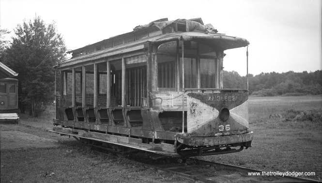 Five Mile Beach Electric Railway car 36 at Warehouse Point, Connecticut on August 16, 1952.