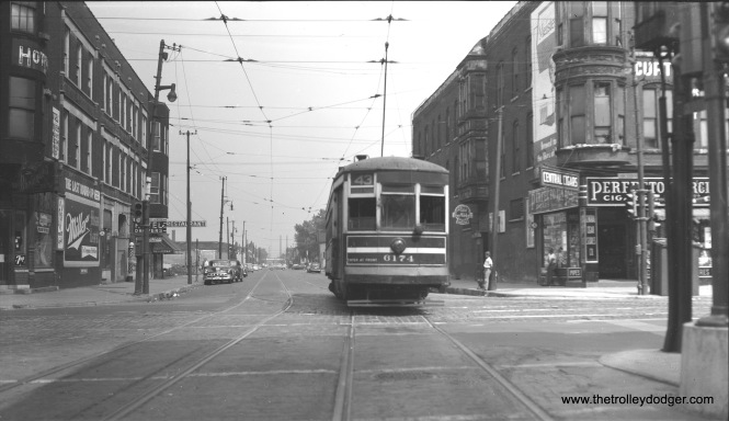 "Photographer Bob Selle writes, ""CTA one-man car 6174 eastbound as it crosses Halsted Street on Root Street (43rd Street line), leaving west end of line. August 1, 1953."""
