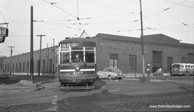 "Photographer Bob Selle writes, ""Car 6177 leaving south end of Kedzie barn for Cermak Road, February 14, 1953."""