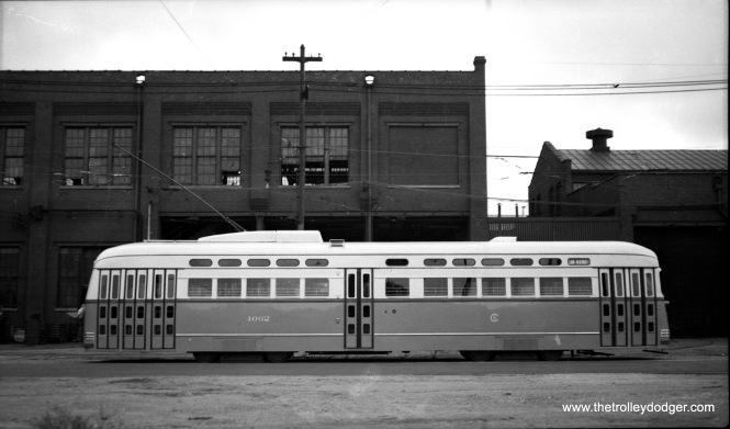 "CSL 4062 was the first postwar PCC put into service. It was built by Pullman. Here, we see it as delivered at 78th and Vincennes on September 30, 1946. Note the different paint scheme the first cars had in the ""standee"" windows area."