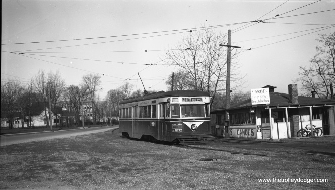"Indianapolis Railways ""Peter Witt"" car 181, also known as a ""Master Unit,"" a Brill trademark, is signed for College-Broad Ripple on April 16, 1952. This car was built in March 1934 and was one of the last streetcar orders filled before the PCC era. (Robert Selle Photo)"