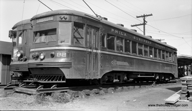 """Red Arrow """"Master Unit"""" 82 is at the 69th Street Terminal on August 8, 1948. (Walter Broschart Photo)"""