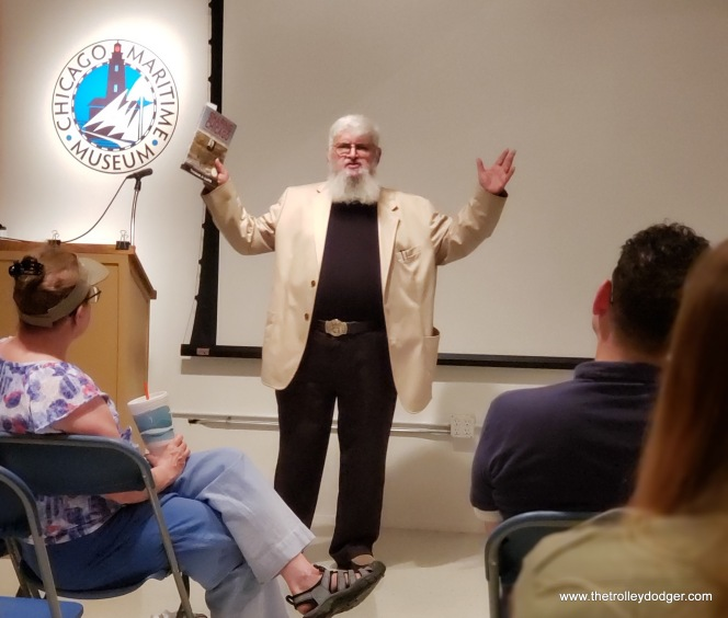 Samuel D. Polonetzky makes a point during his presentation at the Chicago Maritime Museum on July 25, 2018. (David Sadowski Photo)