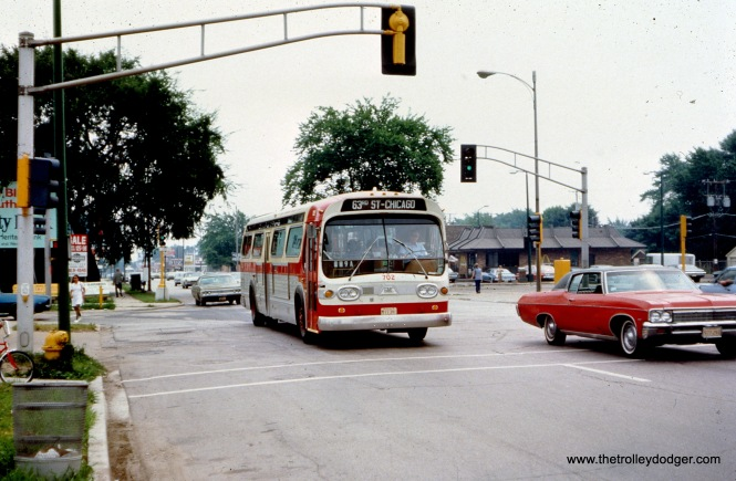 "South Suburban Safeway Lines bus 702 is northbound at 119th and Western, probably around 1970. Our resident south side expert M. E. adds, ""South Suburban Safeway Lines went north on Western to 63rd, then east to Halsted, the heart of Englewood. Actually, east to Union, south to 63rd Place, and west to the L station at Halsted and 63rd Place, where it ended its northbound run. Southbound, it first took Halsted north to 63rd, then west to Western, etc. The other thing to notice in this picture is that Western Ave. was not as wide south of 119th. This is because the Chicago city limit is 119th, and south of that is Blue Island."""
