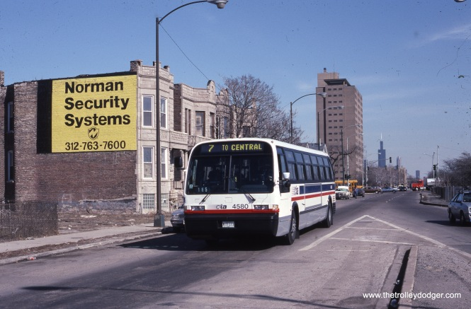 CTA bus 4580 heads west on Harrison at Springfield on March 7, 1991.