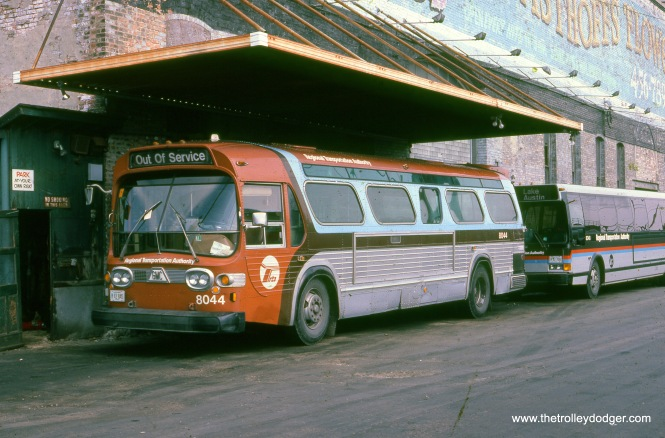 RTA bus 8044 is at the old West Towns garage in Oak Park in March 1983.