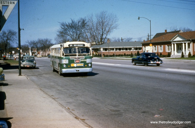CTA 1806 is on Route 84 - Peterson at Western Avenue on April 21, 1957. (Michael N. Charnota Photo)