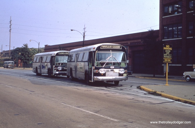 Chicago & West Towns buses 839 and 804 are laying over in the middle of the street at Cermak and 47th Street in January 1979. This is near the border between Cicero and Chicago, and also adjacent to the old Western Electric plant.