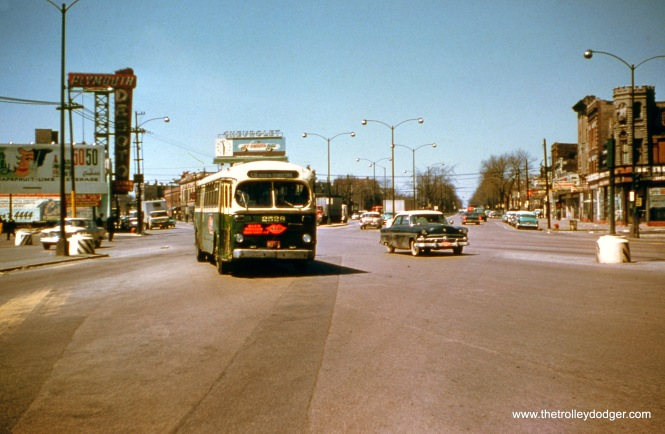 "CTA 2528 is at Ogden and Cermak on Route 58 on April 29, 1961. Bill Shapotkin adds, ""Yes, this is indeed Cermak/Ogden -- the view looks west."""