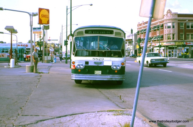 "CTA bus 8829 is at Ashland and 95th in 1973. Daniel Joseph adds, ""If the destination sign is reliable, I believe this bus is on the #45 Ashland Downtown and not on #9 Ashland."""