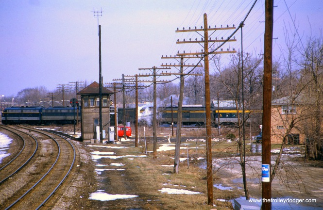 Baltimore & Ohio #5, the Capitol Limited, passing by the Beverly Junction Tower one hour and 50 minutes late, on April 5, 1970.