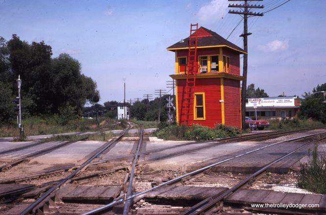 "The Rock Island's 91st Street Tower, where the railroad crossed the PRR ""Panhandle"" route, as it looked on August 17, 1974. As you can see, the tower has received a new coat of paint since the last picture."