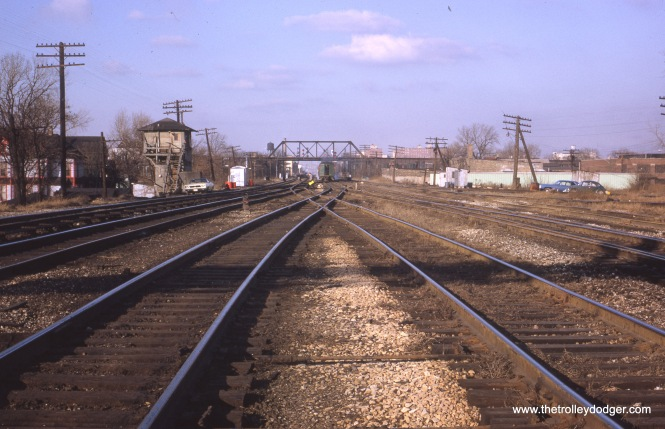 "Rock Island 61st Street Tower on December 8, 1968. (Looking north at movable point crossing- RI ""in"" (L), NYC ""out"" (R)."