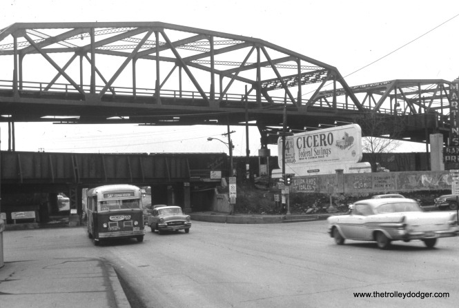 CTA bus 3528 is on Route 54B (South Cicero) on Cicero at 26th, circa the late 1950s.