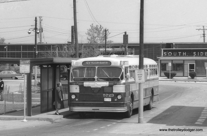 CTA bus 5723 is at the Western and 79th loop, probably in the 1960s.