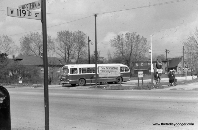 CTA bus 2566 is at 119th and Western, running on Route 49A.