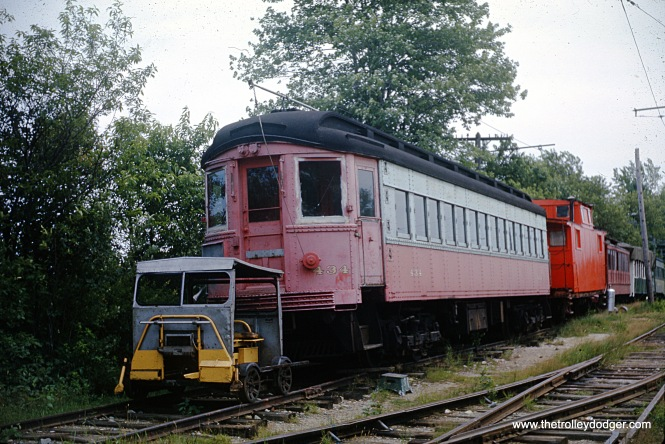 Chicago Aurora & Elgin 434 at the Seashore Trolley Museum in July 1963.