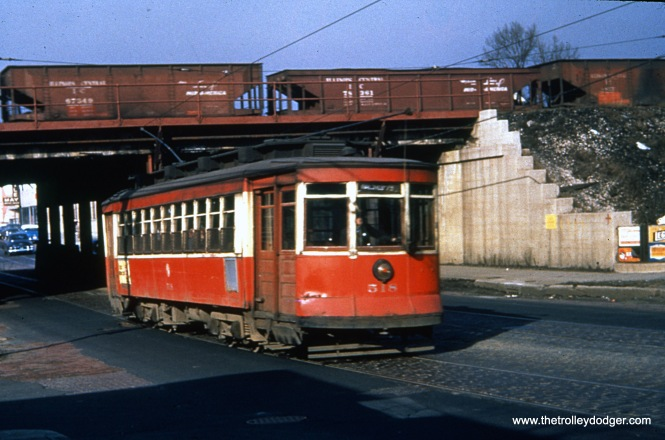 CTA 518 at Halsted and 75th on February 22, 1954. Streetcar service on Halsted ended three months later. (James J. Buckley Photo)