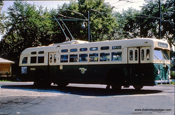 CTA trolley bus 9392 is at the Montrose and Narragansett loop in 1965. This loop has since been removed.