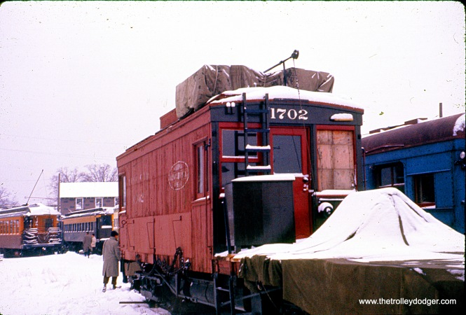 Illinois Terminal Railroad line car 1702, built by that operator in 1922, at North Chicago in February 1960.
