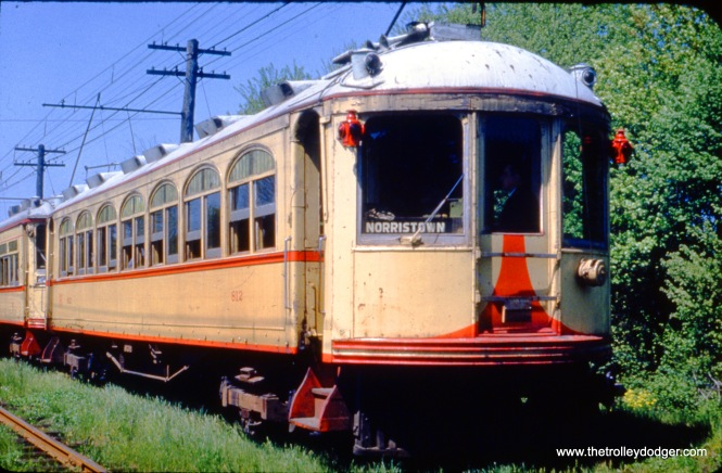 Lehigh Valley Transit 812 is shown running a special at Souderton PA on May 14, 1951. Service on the Liberty Bell interurban ended in September 1951, and unfortunately, this car was not saved.