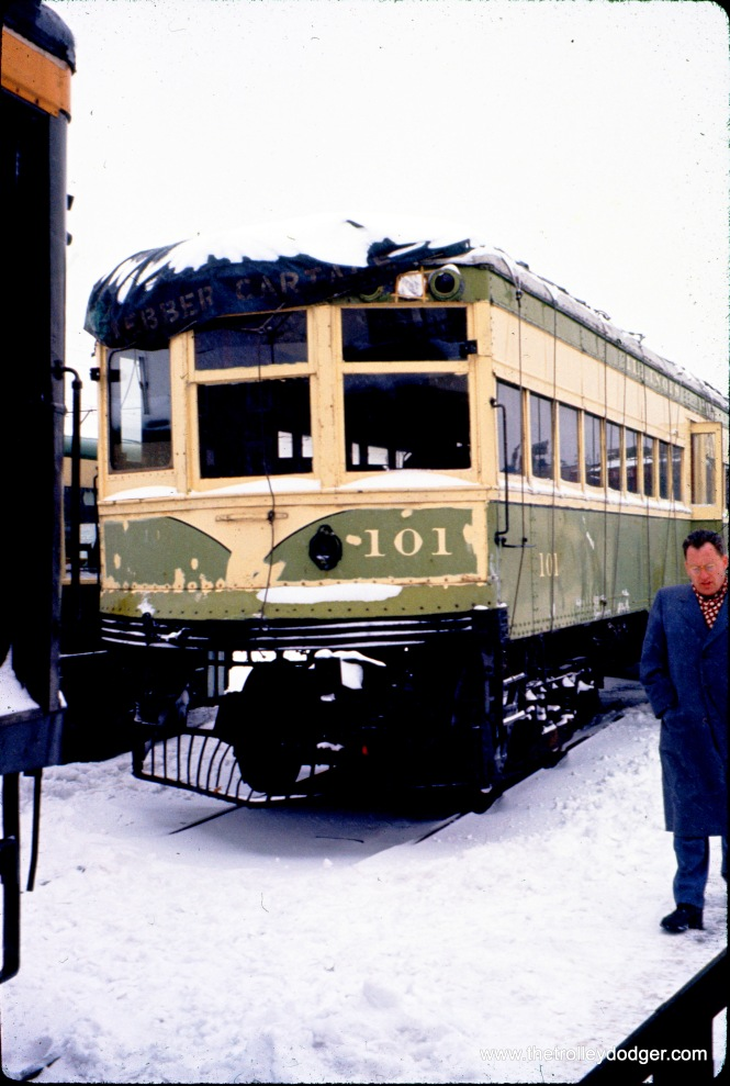"Illinois Terminal car 101 at IERM in North Chicago in February 1960. Don's Rail Photos: ""101 was built by American Car in 1917 as AG&StL 61. In 1926 the car became StL&ARy 61 and in 1930 it became IT 101. On March 9, 1956, it was sold to the Illinois Electric Railway Museum and is now at Union, IL."" This car ran between St. Louis and Alton."