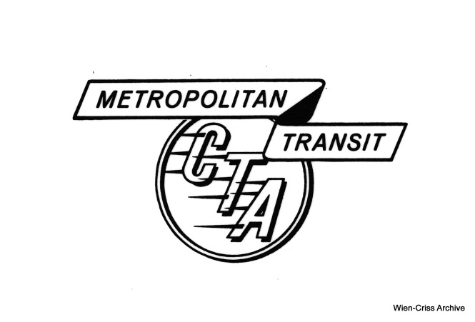 "The Chicago Transit Authority, whose operating area covers most of Cook County, added the words ""Metropolitan Transit"" to its logo around 1958. This image was made from an original Kodalith originally in the collections of the late Robert Selle. My guess is he obtained it from the CTA back in the late 1950s. A Kodalith uses graphic arts film, and was likely made from the original logo artwork. Graphic arts film renders things in either black or white, and does not include gray tones as would conventional film. This image was not made by taking a picture of a logo on the side of a bus or ""L"" car. (Wien-Criss Archive)"