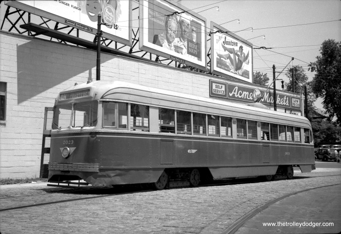 "Philadelphia Transportation Company 2023 was one of only three ""Brilliners"" in its fleet. Don's Rail Photos: '2023 was built by Brill Car Co in April 1939, #23763-006. It was scrapped in August 1956."" Presumably PTC did not purchase any additional Brilliners, as it considered them inferior in some ways to PCC cars. Here we see 2023 at an unknown location on July 23, 1950. Jeff Wien adds, ""The Philadelphia Rapid Transit Company, predecessor to PTC, purchased three Brilliners (2021-2023) in 1939. Thus, PRT/PTC owned more than one Brilliner. Brilliner 2021-2023 3 Brill *1939 **1956 GE 1198G1 * Date Acquired **Date Retired They were unpopular with operators because they were not PCC cars and there were only 3 of them in the fleet. They looked like PCC cars to the naked eye, which the riding public probably assumed they were."""
