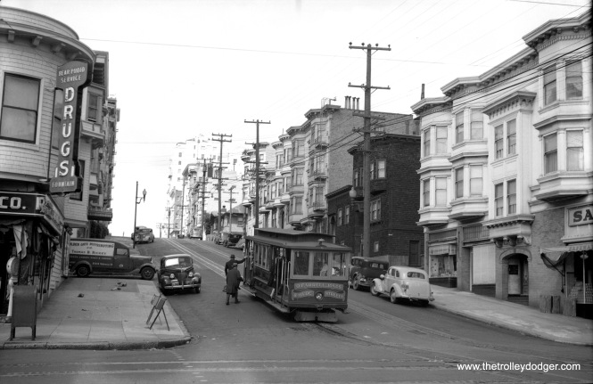 California Street Cable RR car 41 is on Hyde Street at Union Street in San Francisco in 1947. (W. Sievert Photo)