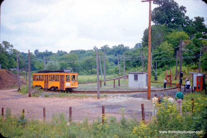 "On July 12, 1955 we see Pittsburgh Railways car 4398 at the Drake Loop. It is signed for the Washington interurban, which continued for several miles from here until interurban service was cut back a few years before this picture was taken. Don's Rail Photos adds, ""4398 was built by St. Louis Car Co. in 1916."" This car was retired in 1956 and has been at the Pennsylvania Trolley Museum in (fittingly) Washington, PA ever since. Service to the Drake Loop ended in 1999, when the last PCC streetcars were retired. In its last few years, it had operated as a shuttle. You can read more about the final days of the Drake Loop here. (C. Foreman Photo)"