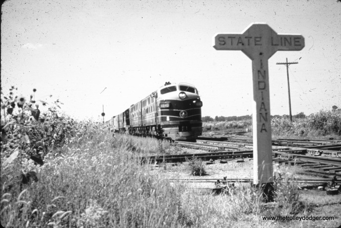 A westbound B&O freight train prepares to cross the IHB at the Illinois/Indiana state line. The view looks east in September 1959. (John Szwajkart Photo)
