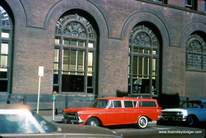 In the 1960s, and auto is parked on Wells Street in front of Grand Central Station. The view looks to the west-northwest across Wells Street. (Ron Peisker Photo)